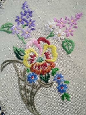 Charming Pansy & Lilacs  ~ Vintage Hand Embroidered Doily