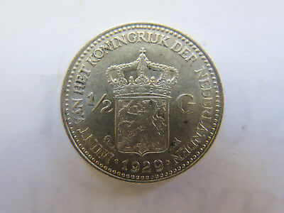 1929 NETHERLANDS HOLLAND 1/2 GULDEN SILVER COIN in EXCELLENT CONDITION