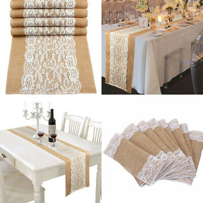 Lace Burlap Hessian Table Runner Rustic Wedding Banquet Party Decoration