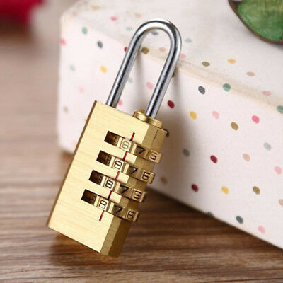 Mini Resettable 4Digit Dial Combination Password Code Lock Luggage Metal Padlock