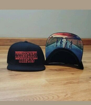 Stranger Things Hat Official Netflix Black Snapback Cap Loungefly Adjustable c71f5626e9fe