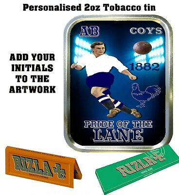 PERSONALISED TOTTENHAM SPURS  RETRO  TOBACCO TIN 2oz GIFT ROLLING BACCY
