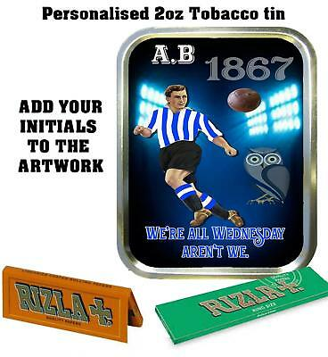 PERSONALISED SHEFFIELD WEDNESDAY  RETRO  TOBACCO TIN 2oz GIFT ROLLING BACCY