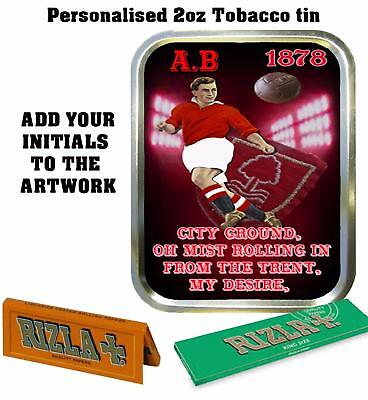 PERSONALISED NOTTINGHAM FOOTBALL   FAN  RETRO  TOBACCO TIN 2oz GIFT BACCY