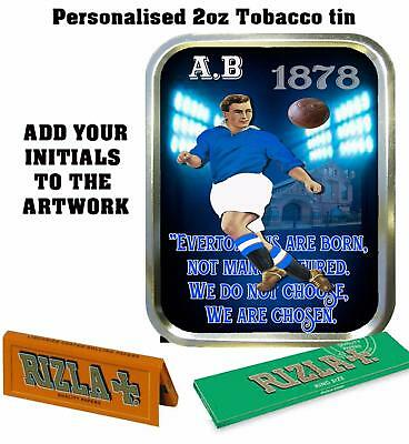 PERSONALISED EVERTON FOOTBALL  FAN  RETRO  TOBACCO TIN 2oz GIFT ROLLING BACCY