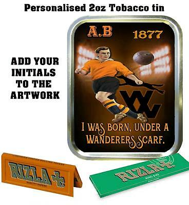 PERSONALISED WOLVES WOLVERHAMPTON RETRO  TOBACCO TIN 2oz GIFT ROLLING BACCY