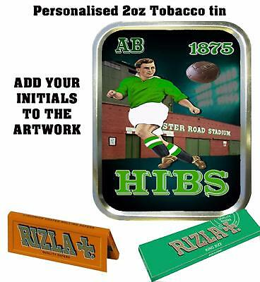 PERSONALISED HIBERNIAN FOOTBALL   FAN  RETRO  TOBACCO TIN 2oz GIFT ROLLING BACCY