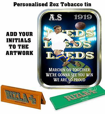 PERSONALISED LEEDS UNITED    FANS  RETRO  TOBACCO TIN 2oz GIFT ROLLING BACCY