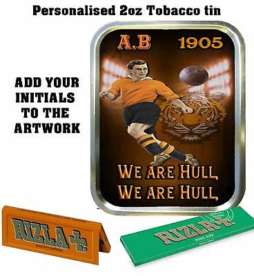 PERSONALISED HULL CITY    FANS  RETRO  TOBACCO TIN 2oz GIFT ROLLING BACCY