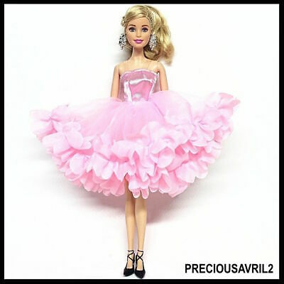 New Barbie doll clothes outfit princess wedding dress gown pink fluffy dress
