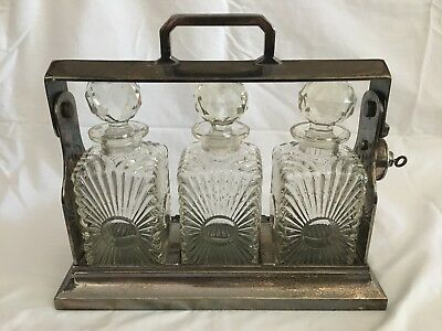 ANTIQUE GLASS DECANTERS WITH CADDY c1800s