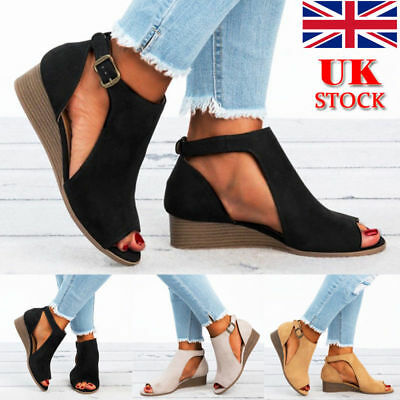 Uk Womens Platform Sandals Wedge High Heels Pumps Summer Peep Toe Shoes Size