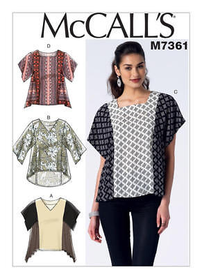 McCall's Sewing Pattern 7361 Misses 6-14 Square or V-Neck Pullover Tops Shirts