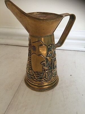 Vintage Brass Effect Vase/Jug  - Approx 7 inches tall - Lighthouse & ship theme