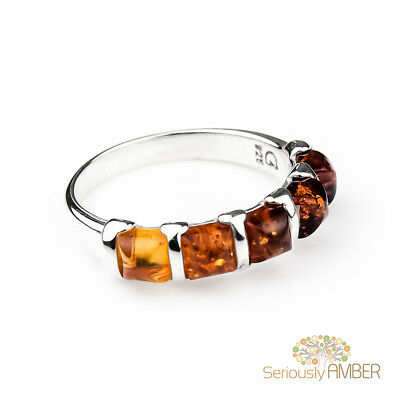 Genuine Baltic Amber 925 Sterling Silver Ring Reduced Jewellery