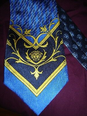 GIANNI VERSACE SILK BLUE with GOLD MEDUSA  TIE ITALY