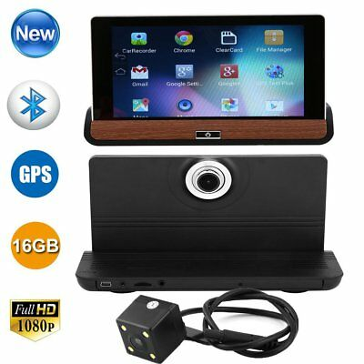 "Android 7"" HD 1080P Dual Lens Car DVR Dash Cam Rearview Camera Recorder GPS Wifi"