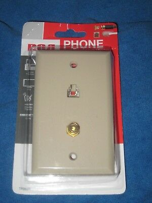 RCA TP062R Telephone Phone Coax Wall Jack Plate, Almond, New!