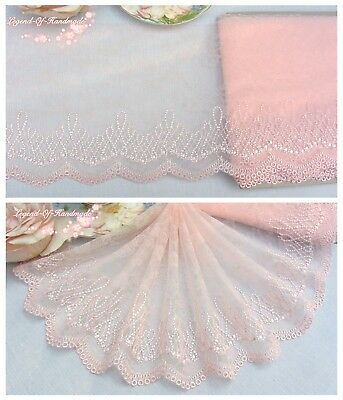 "7.5""*1Y Embroidered Floral Tulle Lace Trim~Light Pink~Exotic Attraction~SALE~"