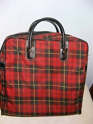 VTG Aladdin Red Scotch Plaid Picnic Lunch Bag Case Carrier Only (No Thermos)
