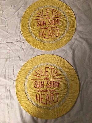 """Retro Yellow 15"""" Round Place mat Set """"let The Sunshine Through Your Heart"""""""