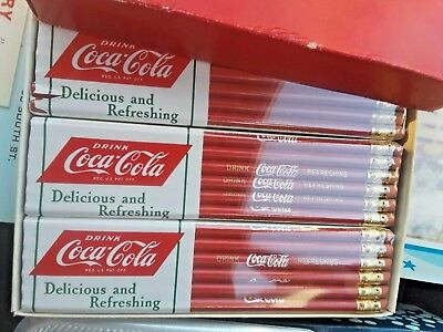 """Vintage Coca-Cola Pencils-Red Sealed 72 Pack """"Delicious and Refreshing"""" 1950's"""