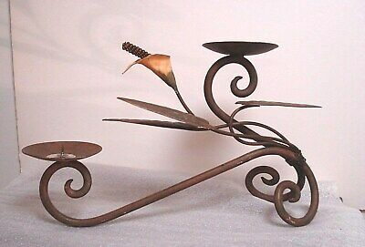 Brown calla lily Wrought Iron Pillar Candle Holder Candelabra Stand Table Mantle