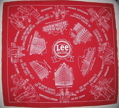 Vintage 1940s LEE Jeans Advertising Red Bandana Union Made Riders Airline RR