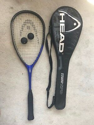 HEAD Squash Racket Bag and 2x Balls Pyramid Power 170 with Over Grip Blue/Black