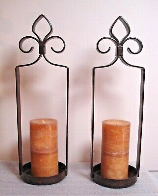 pair Brown Wrought Iron Pillar Candle Holder Candelabra Stand Table Mantle