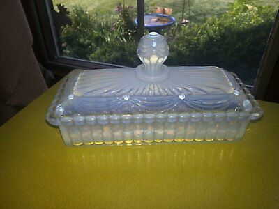 "Antique 1800s Choisy Leroi French Opalescent Glass ""Depose"" Butter Dish RARE!!!"