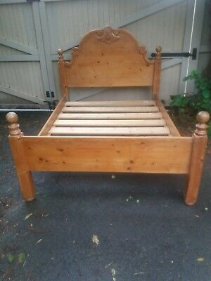 French Solid Pine Carved Double Bed