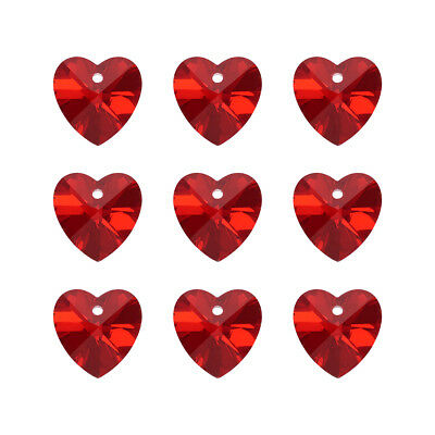100pc Dark Red Handmade Glass Pendants In faceted Hheart Shape With Silver Base