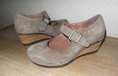 2097fc2312db Women s DANSKO SANDRA Taupe Suede Leather Mary Jane Wedge Shoes EU 39 US  8.5 - 9