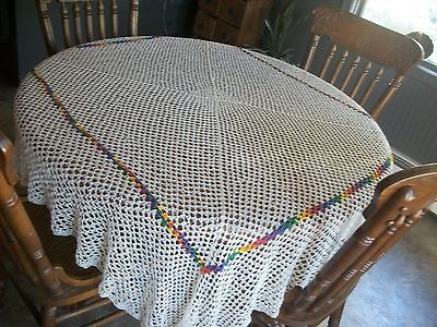 "Elegant, vintage crochet tablecloth-pristine cond. 70"" wide x 75"" long."