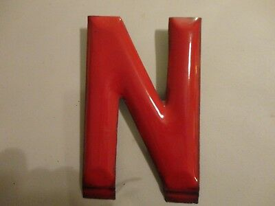 "Porcelain Sign Letter 10"" Red ""N"""
