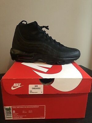 outlet store f2ec5 70b56 Nike Air Max 95 Sneakerboot Men s Size 8 Triple Black 806809-002 New Boot  Shoe