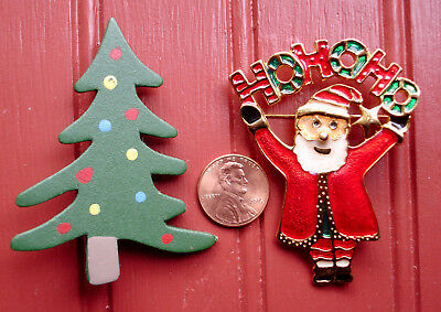 Vintage Ho Ho Ho Santa and Christmas Tree Pins