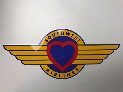 """NEW Southwest Airlines Large Heart & Wings Logo Badge Sticker, 4.5 x 10.5"""""""