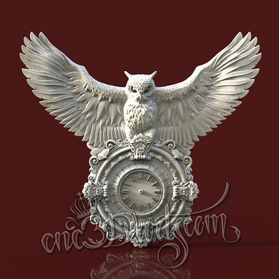 3D Model STL for CNC Router Artcam Aspire Owl  Hunting Clock Cut3D Vcarve
