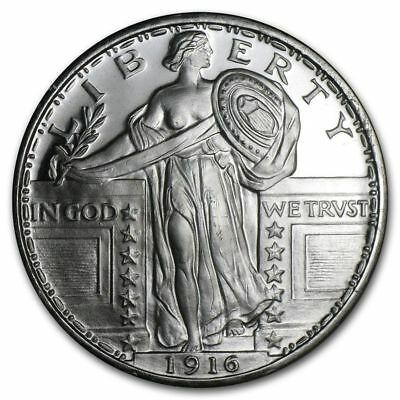1 - 1 oz .999 Silver Round - Standing Liberty Design - Brilliant Uncirculated
