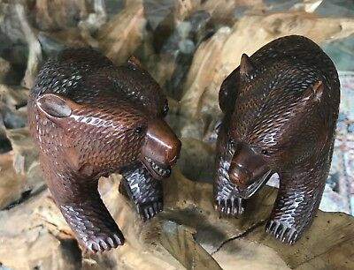 Pair of Beautiful Antique Vintage Black Forest Carved Wooden Bears