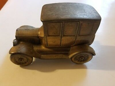 Vintage Brass 1927 Ford Model T Car Coin Bank Banthrico Chicago Bronze No Key