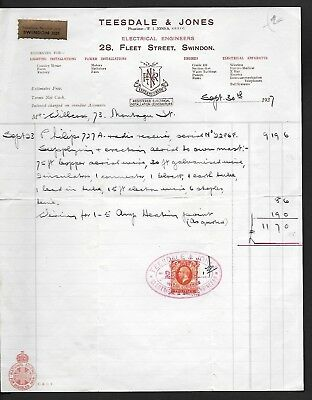 SWINDON  28 FLEET ST Electrical Engineers 1937 RADIO RECEIPT.