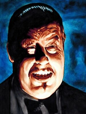 Signed Original Painting of Warner Oland as Charlie Chan in The Black Camel