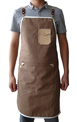 Denim Chef Apron, Heavy Duty Waxed Canvas Work Apron with Tool Pockets, Waist &