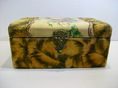 Victorian Sewing Box; Velvet, Celluloid Exterior, Fabric Lined; Beautiful!