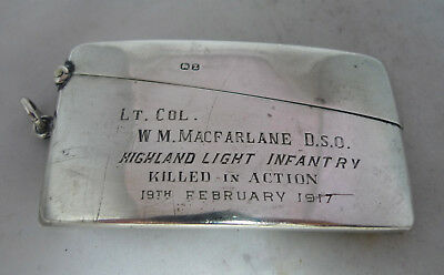 Victorian Military Silver Card Case 1899 DSO Highland Light Infantry DiedA690817