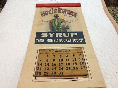 Vintage Black Americana Advertising Unle Remus Syrup Calendar 1945 Collectible