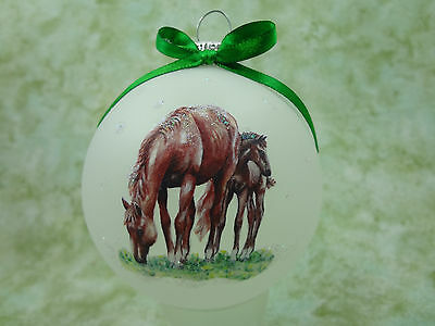 rH061 Hand-made Christmas Ornament - horse - sorrel red mare and foal